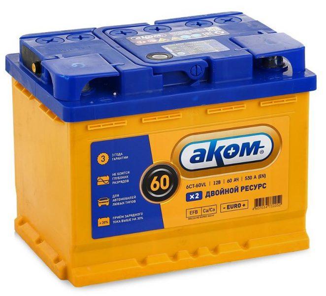 Аккумулятор автомобильный Akom 60 — отзывы