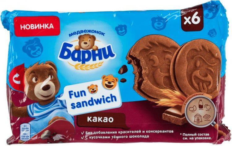 Пирожное бисквитное Медвежонок Барни Фан сэндвич — отзывы
