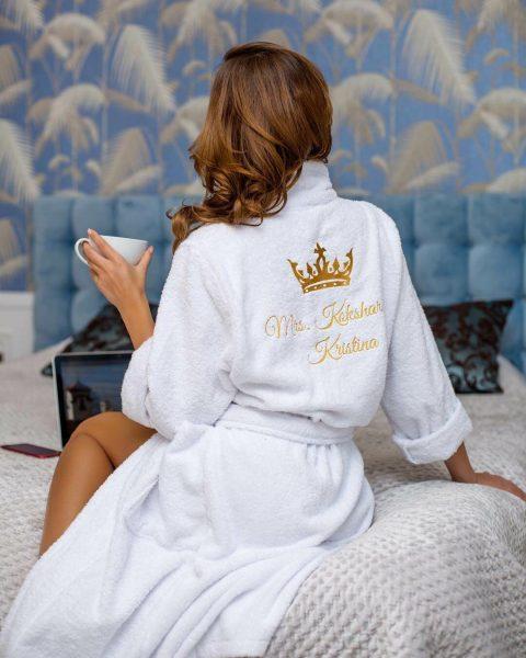 Махровый женский халат Ришелье с вышивкой — отзывы
