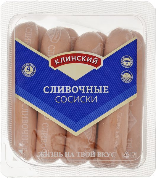 Сосиски Клинский мясокомбинат Сливочные — отзывы
